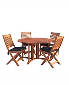 Miramar 5 Piece Hardwood Outdoor Folding Dining Set