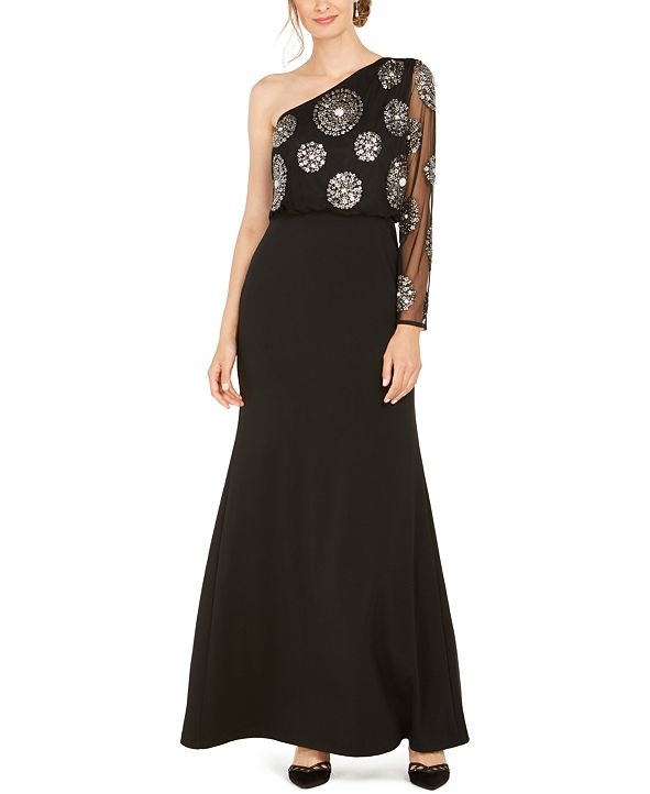 Adrianna Papell Beaded One-Shoulder Gown