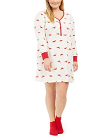 Plus Size Printed Henley Sleep Shirt & Socks, Set Created For Macy's
