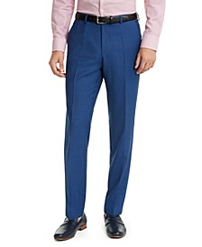 HUGO Hugo Boss Men's Slim-Fit Medium Blue Sharkskin Suit Pants