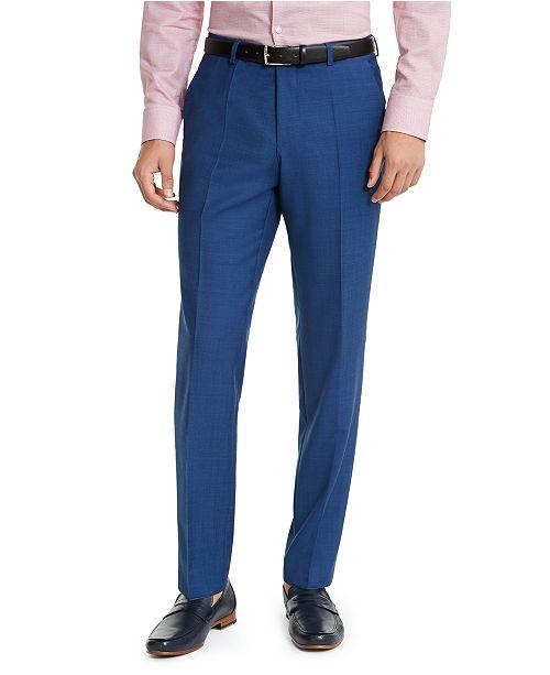 HUGO HUGO Hugo Boss Men's Slim-Fit Medium Blue Sharkskin Suit Pants