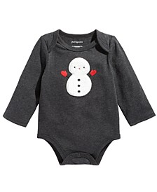 Baby Boys Long-Sleeve Snowman Bodysuit, Created For Macy's