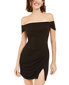 Juniors' Off-The-Shoulder Bodycon Dress