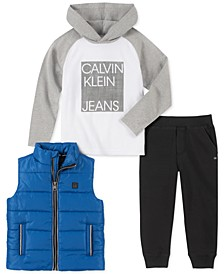 Toddler Boys 3-Pc. Blue Nylon Vest, White & Gray Logo Hoodie & Black Fleece Pants Set