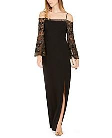 Embellished-Sleeve Cold-Shoulder Gown