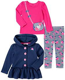 Little Girls 3-Pc. Hooded Jacket, Purse Top & Printed Leggings Set