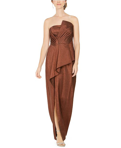 Adrianna Papell Metallic Cascade-Front Gown