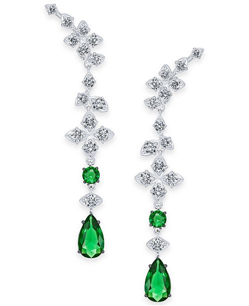 Eliot Danori Silver-Tone Layla Crystal Linear Earrings, Created for Macy's