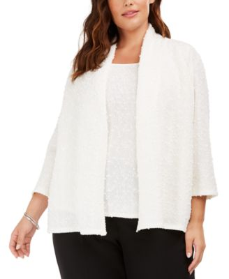 Plus Size Open-Front Sequined Jacket