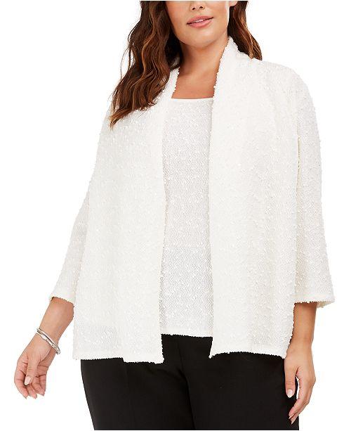 Kasper Plus Size Open-Front Sequined Jacket