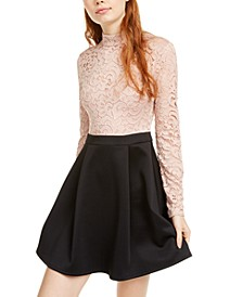 Juniors' Mock Neck Lace Top Skater Dress