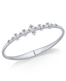 Silver-Tone Cubic Zirconia Floral Bangle Bracelet, Created for Macy's