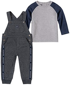 Baby Boys 2-Pc. Raglan T-Shirt & French Terry Overalls Set