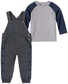 Calvin Klein Baby Boys 2-Pc. Raglan T-Shirt & French Terry Overalls Set