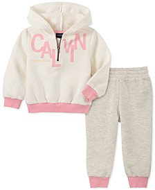 Baby Girls 2-Pc. Hooded Sweatshirt & Jogger Pants Fleece Set