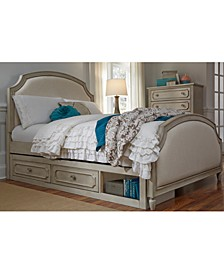 Emma Kids Bedroom Twin Upholstered Panel Bed with Under bed Storage Unit