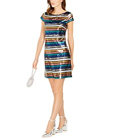 Multicolored Sequined Striped Dress