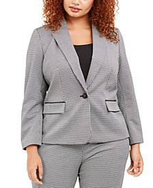 Plus Size Houndstooth One-Button Blazer