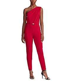 Velvet-Jersey One-Shoulder Jumpsuit