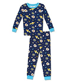 Boys Toddler, Little and Big Astro Pug Print 2 Piece Cotton Pajama Set with Grow with Me Cuffs