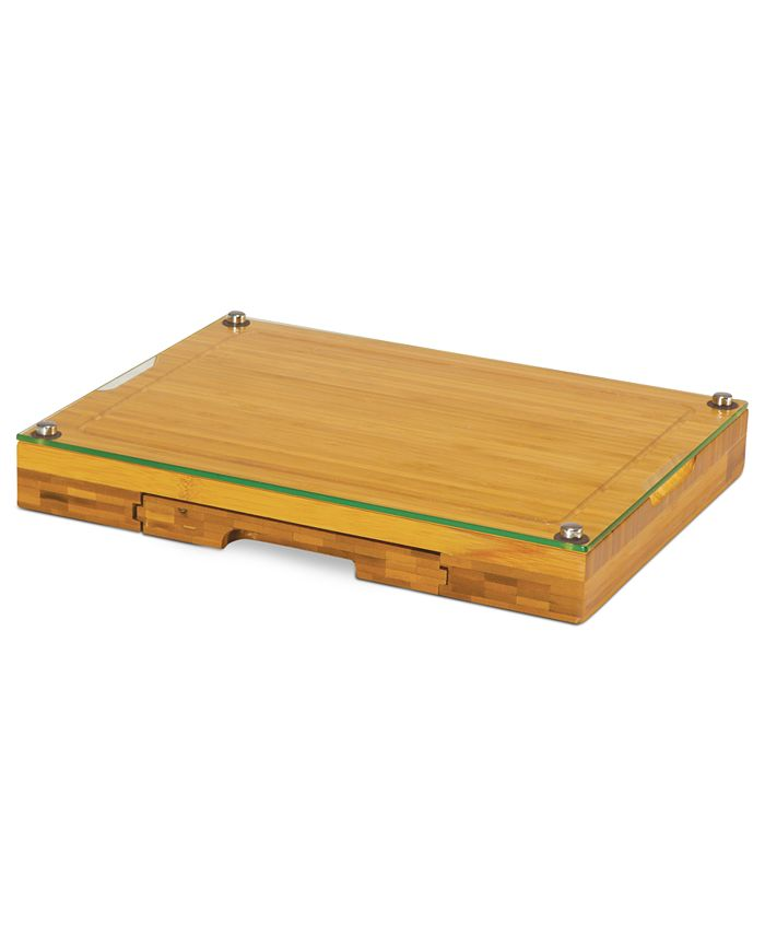 Picnic Time - Cutting Board, Concerto Glass Top with Cheese Tools