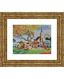 "Picnic At Church Framed Print Wall Art - 22"" x 26"""