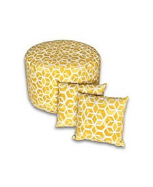 Outdoor Large Round Pouf and Pillow Pack