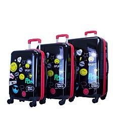 Smiley World Pop Design 3 Piece Luggage Set