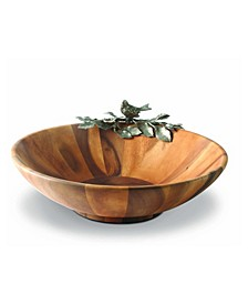 Acacia Wood Large Salad Serving Bowl with Pewter Song Bird