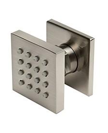 "Brushed Nickel 2"" Square Adjustable Shower Body Spray"