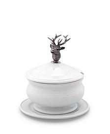 Lidded Porcelain Soup, Sauce, Gravy Bowl with Solid Pewter Elk Head Handle, Knob
