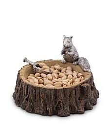 Designs Aluminum Standing Squirrel on Log Nut Bowl