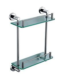 Polished Chrome Wall Mounted Double Glass Shower Shelf Bathroom Accessory