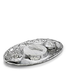Sand-Cast Aluminum Olive Pattern 5 Piece Entertainment Tray