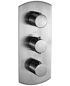 Brushed Nickel Round 2 Way Thermostatic Shower Mixer