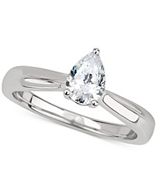 GIA Certified Diamond Pear Solitaire Engagement Ring (1 ct. t.w.) in 14k White Gold