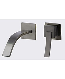 Brushed Nickel Single Lever Wallmount Bathroom Faucet