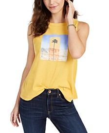 Juniors' Cotton Palm Tree Graphic-Print Muscle Tank Top