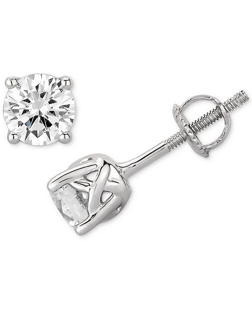 Macy's  Certified Diamond Stud Earrings (1 ct. t.w.) Stud Earrings in 14k White Gold