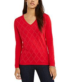 Tommy Hilfiger Ivy Studded Argyle V-Neck Sweater, Created for Macy's