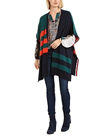 Colorblocked Poncho Cardigan