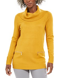 Petite Zip-Pocket Cowlneck Sweater, Created For Macy's