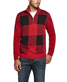 Men's Quarter-Zip Buffalo Plaid Sweater