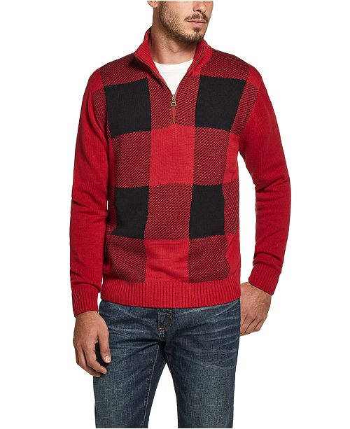 Weatherproof Vintage Men's Quarter-Zip Buffalo Plaid Sweater