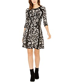 Printed 3/4-Sleeve Sweater Dress