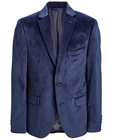 Big Boys Classic-Fit Navy Blue Damask-Print Velvet Sport Coat