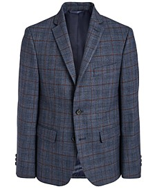 Big Boys Classic-Fit Stretch Navy Blue/Wine Plaid Sport Coat