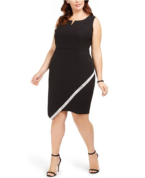 BCX Trendy Plus Size Embellished Asymmetrical Dress