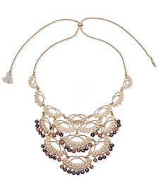 """Gold-Tone Pavé & Bead Slider 28"""" Frontal Necklace"""