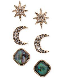 Gold-Tone 3-Pc. Set Pavé & Stone Celestial Stud Earrings